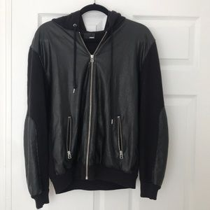 Aritzia Black Vegan Leather Bomber- Style Hoodie